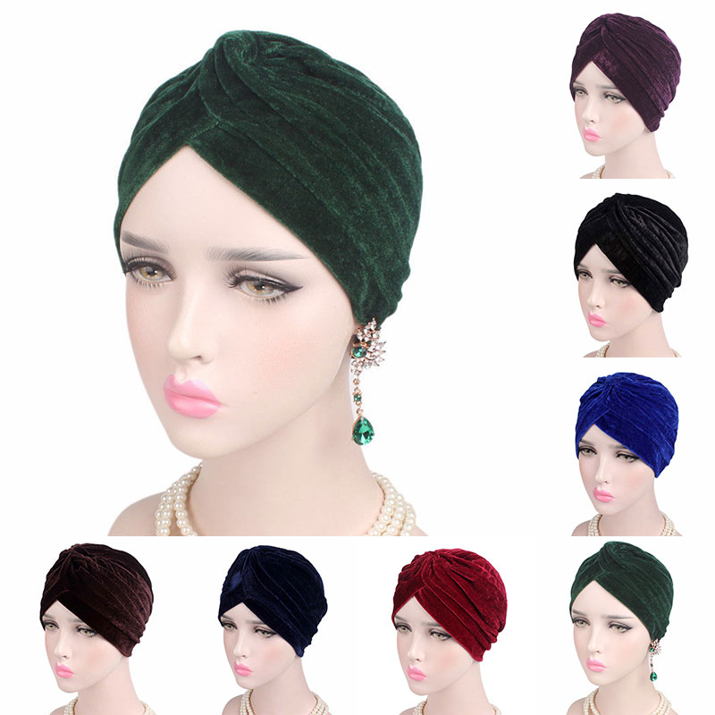 Casual Stretch Gold Velvet Headwrap Turban Hat Muslim Chemo Cap Hijab Headwear Winter Warm Bandanas Beanies Knotted Accessories