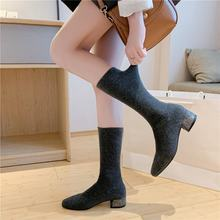 Women's Mid Calf Boots Winter Shoes Woman 2019 Lace Up Sexy Thigh High Heels High Sexy Booties Ladies Autumn Over-the-knee(China)