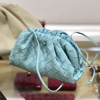 New fashion genuine weave leather cloud bag  ladies fashion clutch hand bag soft leather dumpling hobo shoulder bag purse