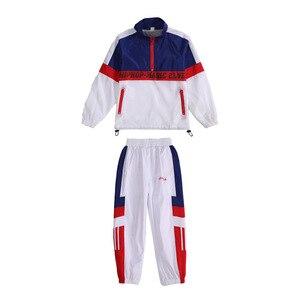 Image 5 - Детская синяя и белая куртка, штаны для бега, одежда в стиле хип хоп, костюм для джазовых танцев для девочек и мальчиков, уличная одежда для бальных танцев