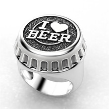 Modyle 2020 New Fashion Punk Vintage Bottle Cap Shaped Ring for Man Gold Silver Color I Love Beer Party Gifts