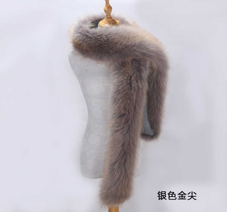 Faux Fox Fur Scarf Long Fur Collar Scarf Female Winter Raccoon Fur Hat Fake Collar Long Shawl Cloak