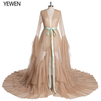 Green Long Sleeves Evening Dress Party Gowns Robe De Soiree Formal Prom Dresses Belt Top Evening Gowns YeWen Photography Dress