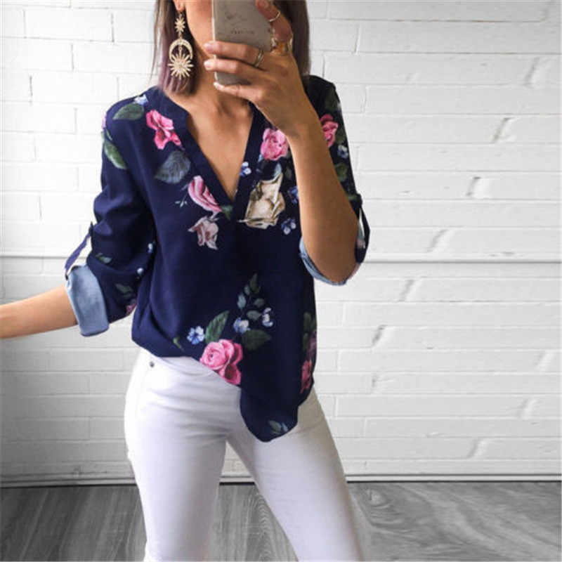 2019 neue Lange Hülse der Frauen V neck Floral Print Tops Mode Damen Sommer Casual Bluse Lose Shirt
