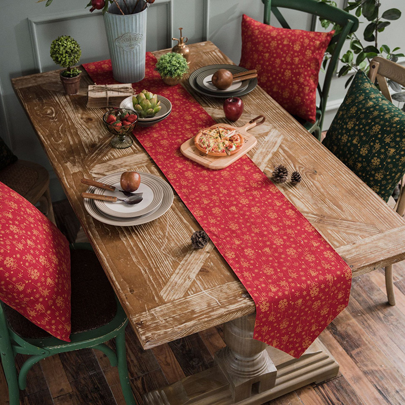 Burlap Christmas Table Runner Christmas Table Decoration Party Decor Cloth Cover For Home New Year