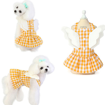 Party Dress Girls Cotton Dog Clothes Plaid Pet Dress With Angle Wing Summer Sexy Sling Dresses For Small Medium Dogs Puppy Skirt image