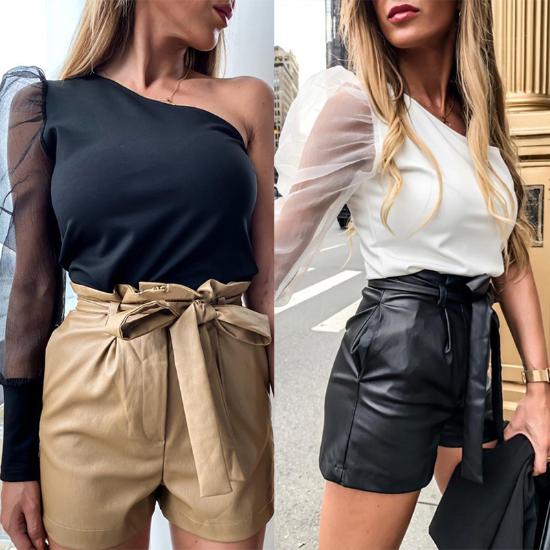 Women Sexy One Shoulder Puff Sleeve Blouses Solid Pattern Patchwork Bodysuit Bodycon Vintage Shirt Top Casual Crop Top T