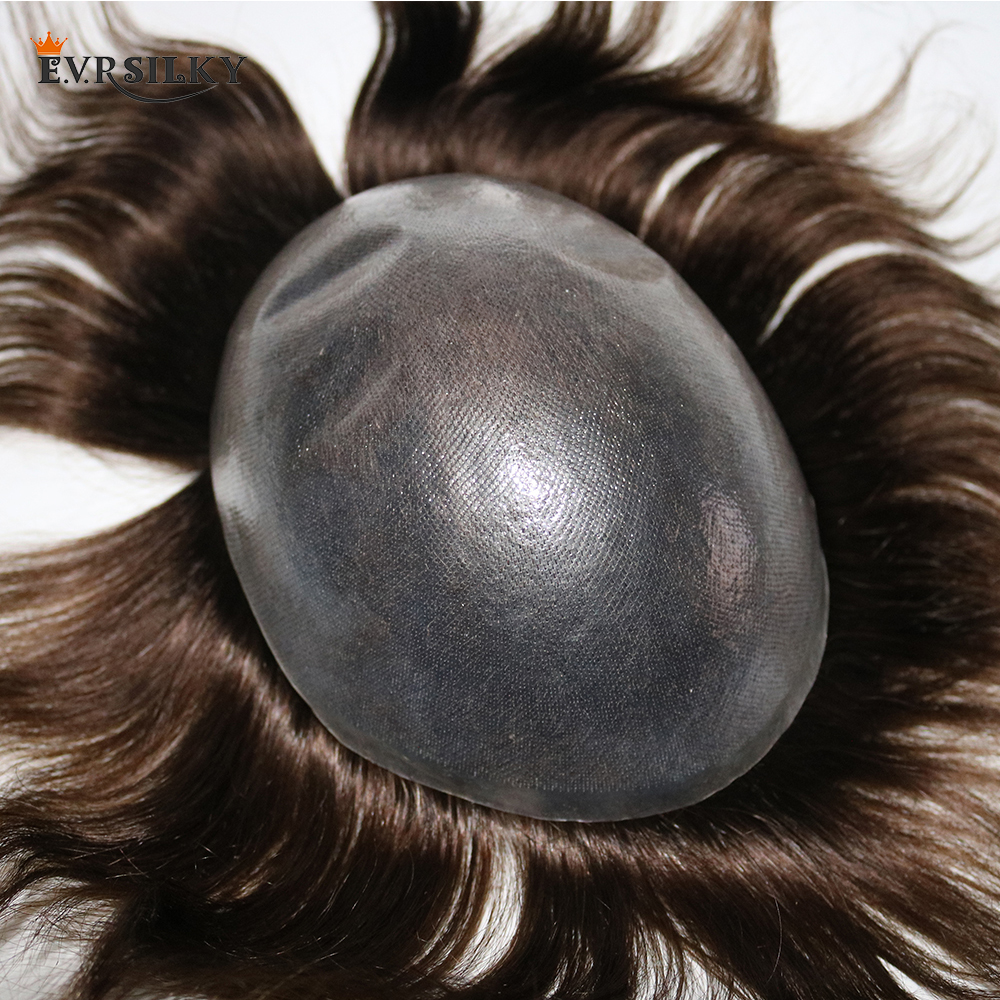 Eversilky Non-surgical Men Hair System 0.08-0.1mm V Loop Thin Skin Toupee Hair Replacement System Straight Hair Mens Wigs