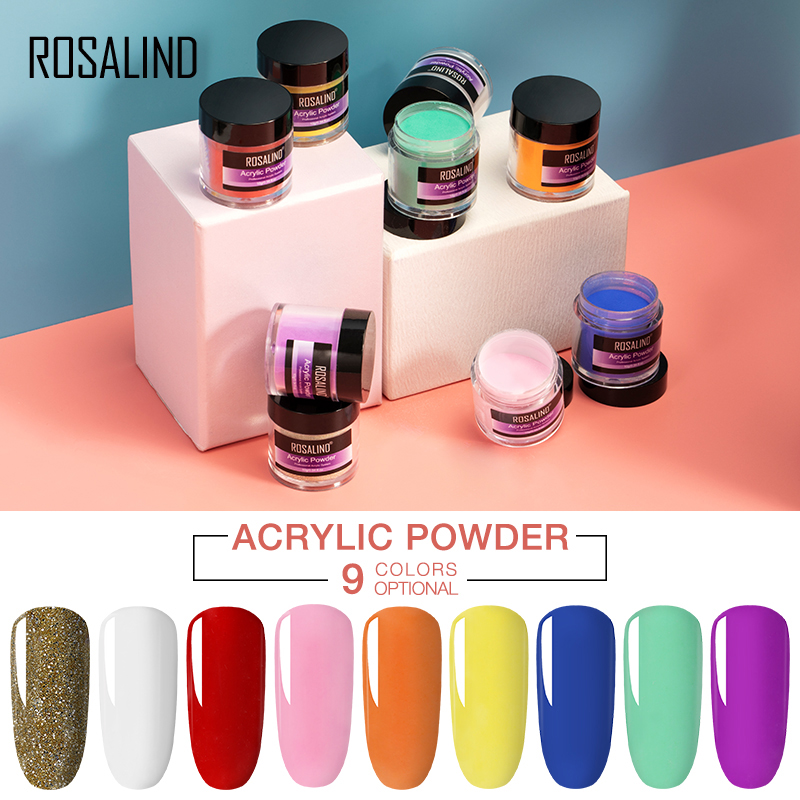 ROSALIND Colorful Acrylic Powder For Crystal Poly Gel Manicure Set Kit Nail Extension Nail Art Design Carved Powder