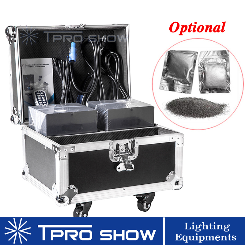 2Pcs Spark Machine 1 Flight Case Packing Dmx Remote Control Cold Fireworks Spark Fountain With 10bag 20bag Ti Powder For Wedding