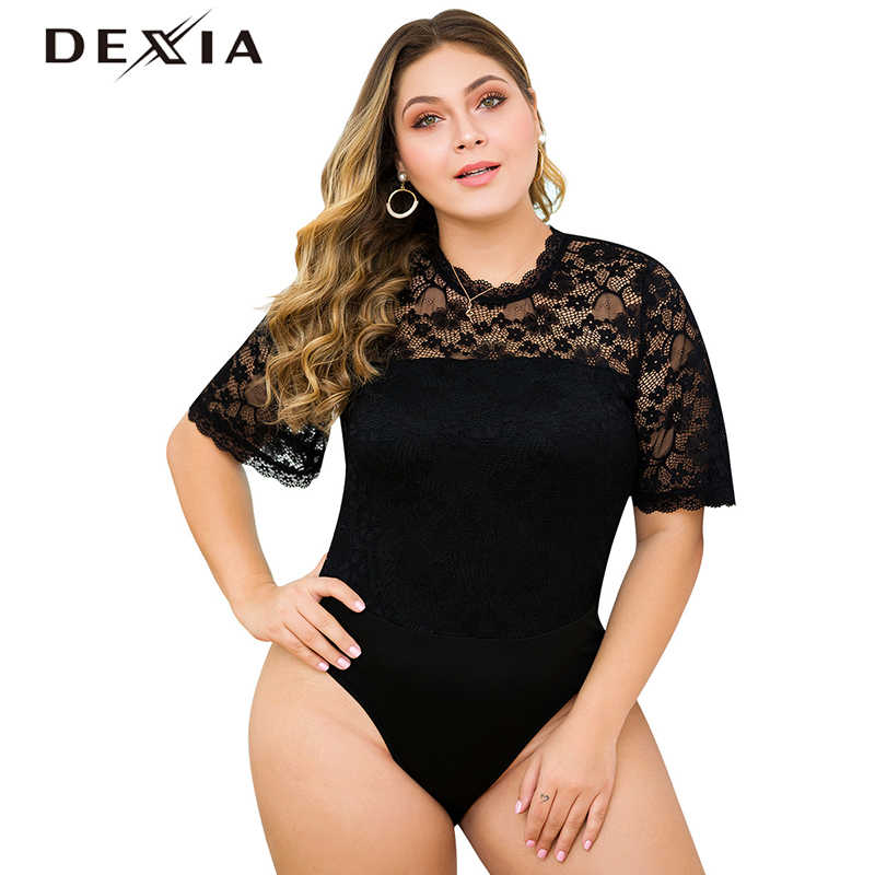 DEXIA Summer Sexy Flower Lace Hollow Out Bodysuits Women Black Floral Skinny Summer O-Neck Plus Size 3XL 4XL Bodysuits Ladies