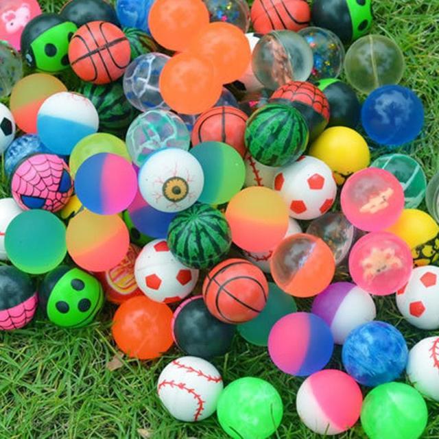 100pcs/lot Funny Toy Balls solid rubber jump ball Mixed Super Bouncy Ball Children Elastic Rubber Ball Children Kids Xmas Gift