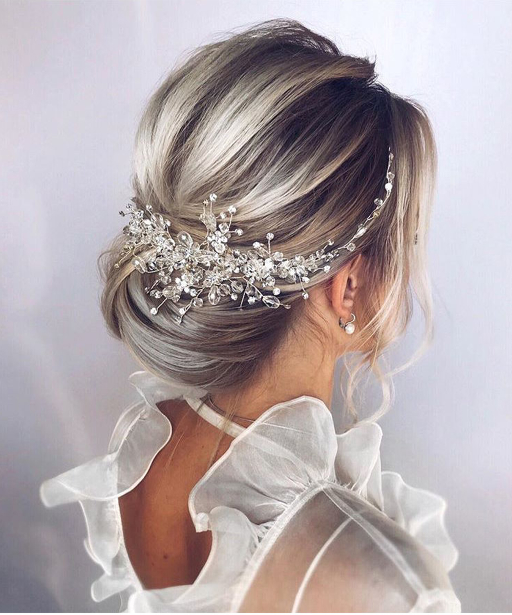 Hair-Comb Wedding-Accessories Bridal-Headwear Crystal Rose-Gold Silver Elegant Vintage