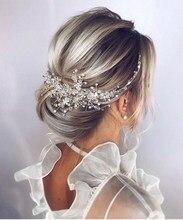 Accesorios de boda Vintage para mujer, diadema nupcial de cristal brillante, peine para el pelo, elegante, de oro rosa y plata