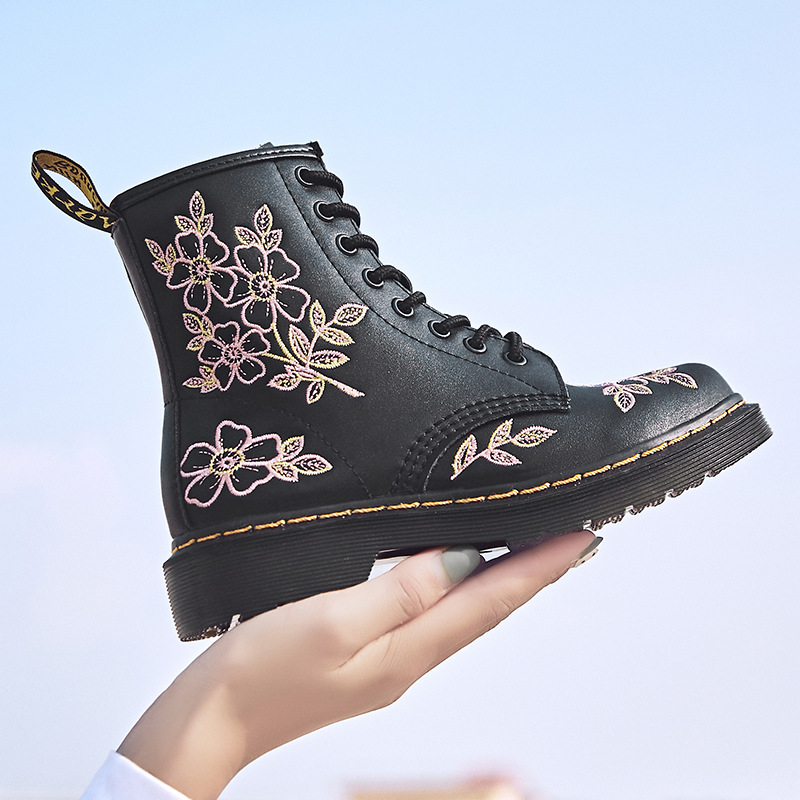2019 Autumn New Genuine Leather Ankle Boots Women Platform Martin Boots Black Women Booties Genuine Leather Embroidered Boots