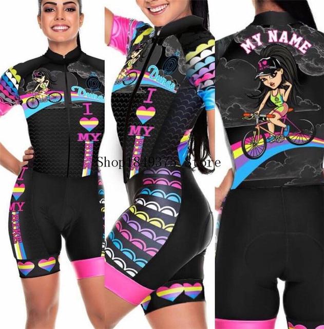 Time profissional triathlon roupa de ciclismo, camiseta de manga curta feminina, macacão, conjunto de ciclismo em gel, 2020 5