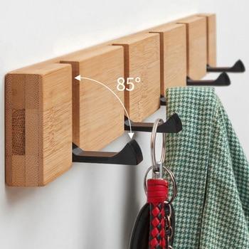 4/5/6 Hooks Wood Wall Hanger Coat Hooks Key Hook Holder Coat Hook Bedroom Door Hat Clothes Rack Hanger Kitchen Toilet Hook