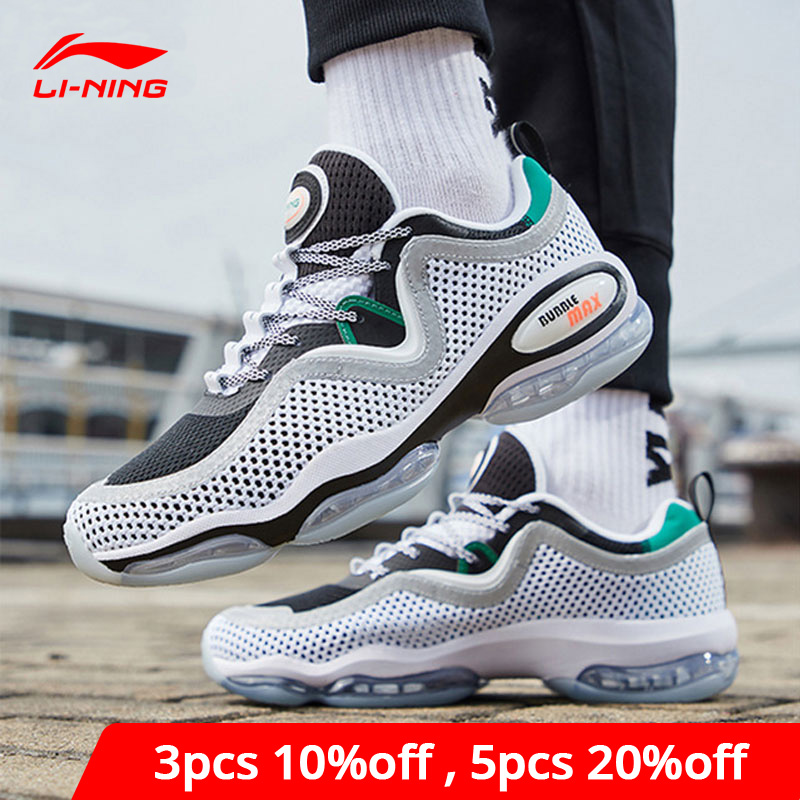 Li-Ning Men BUBBLE MAX II Lifestyle Shoes Air Cushion Retro Mesh LiNing Li Ning Sport Shoes Leisure Sneakers AGLP001  YXB263