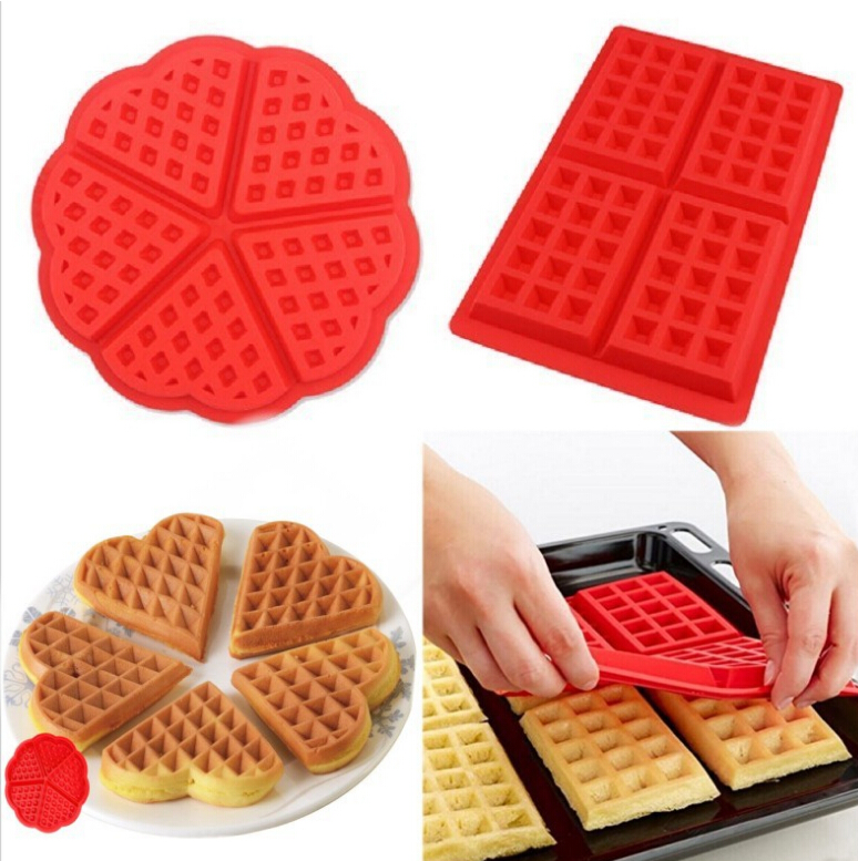 5 Grids Silicone Waffle Molds Cake Baking Mould Pancake and Waffle Maker DIY Hand-made Kitchen Bakeware Accessories AT56