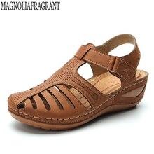 プラスサイズの女性のサンダルプラットフォームサンダルウェッジシューズ女性 sandalias mujer 夏の靴の革中空ハイヒールサンダル c901