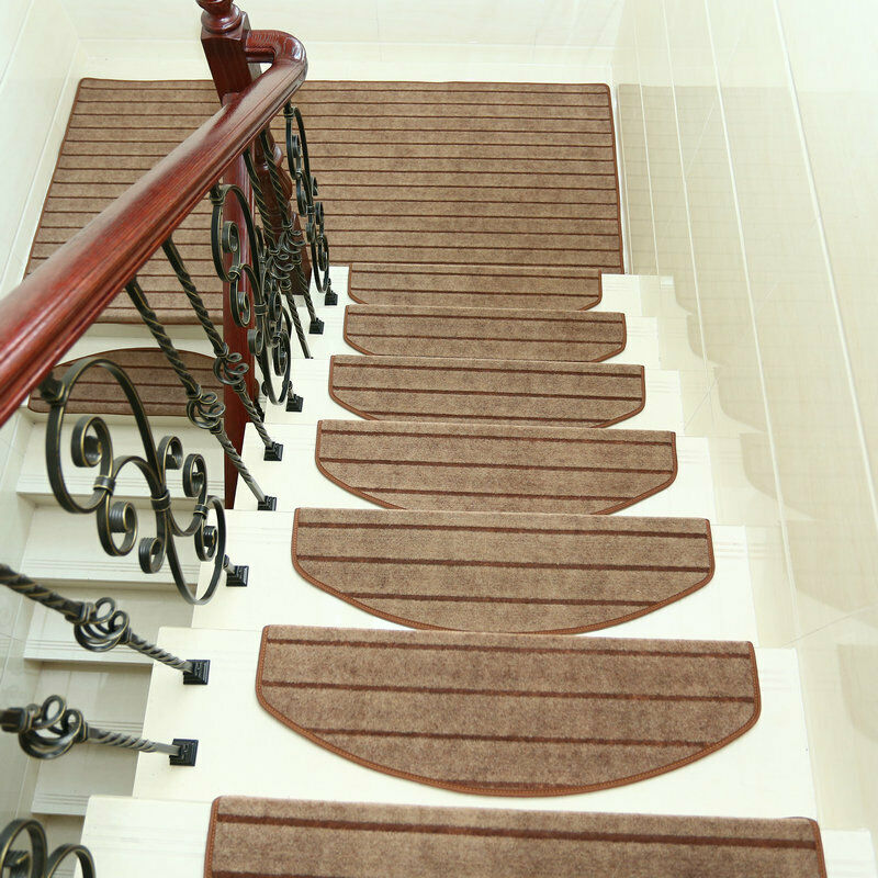 14Pcs Adhesive Stair Treads Rectangle Non Slip Rugs Stair Mats   Rugs For Stairs Cheap   Carpet   Elegant   Light Grey   Persian   White
