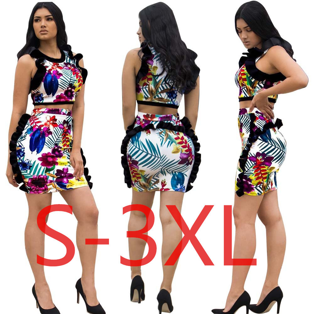 5141 Cross Border Supply Of Goods Amazon Wish Europe And America Sexy Sheath Frilled Set Two Piece Set Women's A Generation Of F