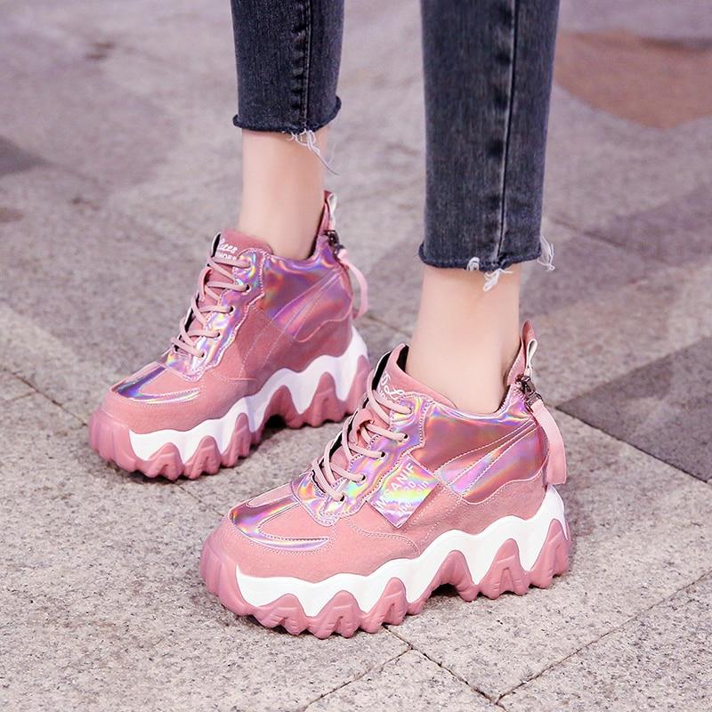 Cómodos zapatos deportivos de tacón alto con plataforma 2020 para mujer, zapatos vulcanizados con punta redonda, zapatos sexis con cordones para mujer, zapatos de señoras solteras SANDALIAS ARMONIAS PLATAFORMA