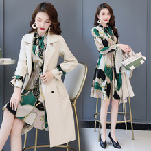 Women Knee Length Dress Suits Sashes Double Breasted Blazer Long Sleeve Dresses Work Ladies Office Wear 2 Piece Set Green Suite
