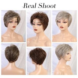 Image 4 - EMMOR Synthetic Laceด้านหน้าWigs 6 นิ้ว 50% Hair Blend Pixieตัดวิกผมสั้นธรรมชาติHairlineสำหรับผู้หญิง 4 สี