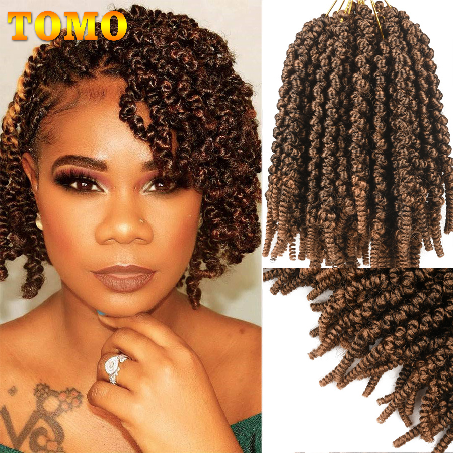 TOMO Spring Twist Ombre Blonde Brown Crochet Braids 8inch Passion Twist Synthetic Braiding Hair Extensions Low Temperature Fiber