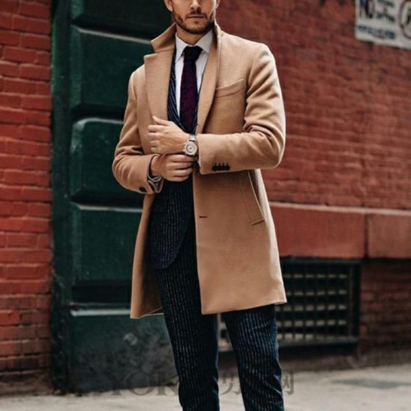 Novelty! Mens Khaki Baggy Long Trench Coat, Classic Autumn and Winter Long Jacket, Men Casual Coat