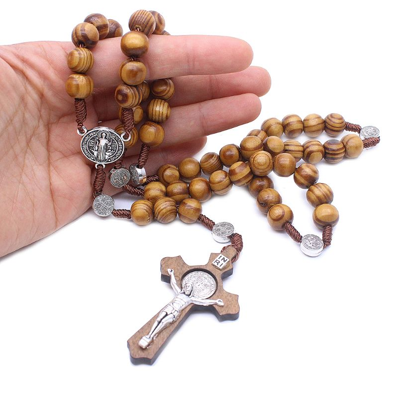 Fashion Handmade Round Bead Catholic Rosary Cross Religious Wood Beads Men Necklace Charm Gift