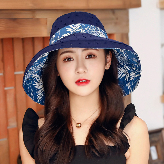 Womail Fisherman Hat Fashion Women Casual Sweet Wind Double-sided Big Edge Cotton And Linen Outdoor Sun Protection Beach Hat