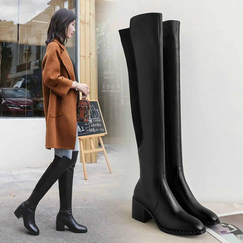 2020 siyah kadın çizmeler hakiki deri diz çizmeler üzerinde 7cm yüksek topuk sonbahar kış moda ayakkabılar