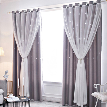 1PC Hollowed Curtains for Living Room Curtain Stars Shading Window Curtain Drape Purdah for Living Room Bedroom Home Decoration