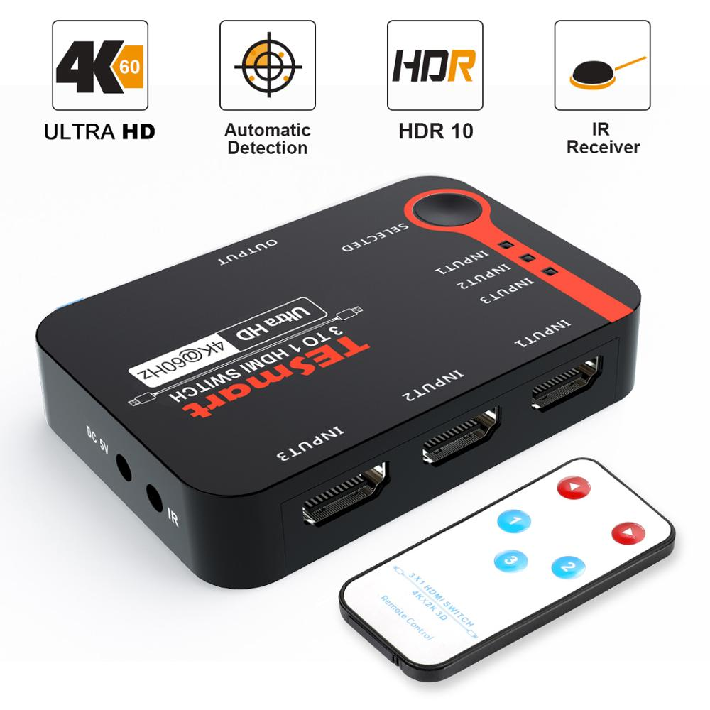 HDMI Switch 3 Ports UltraHD 4K@60Hz 3 In 1out HDMI Splitter 3x1 For PS3/4 HDTV Xbox HDMI Switcher Splitter With IRremote Control