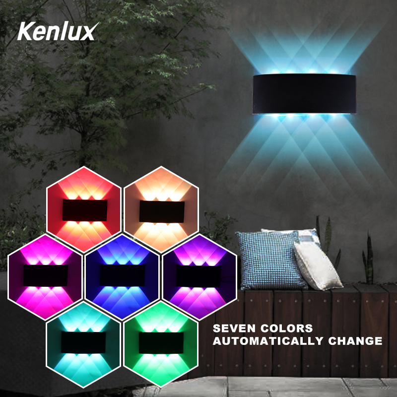 RGB Automatically Color Changing Led Wall Light Waterproof Up Down Wall Light Decorative Led Lights For Party Bar Lobby KTV Home