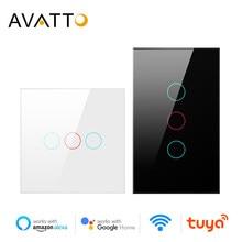 AVATTO Tuya WiFi Smart Licht Schalter mit Luxuray Glas Panel, touch Sensor Smart-Wand Schalter Stimme Arbeit mit Alexa, Google Hause