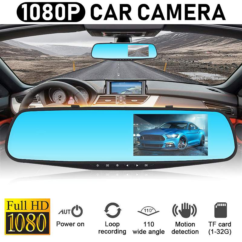 Car Dvr Camcorder Camera Rearview-Mirror Dual-Lens Registratory Auto-4.3inch 1080P Full-Hd