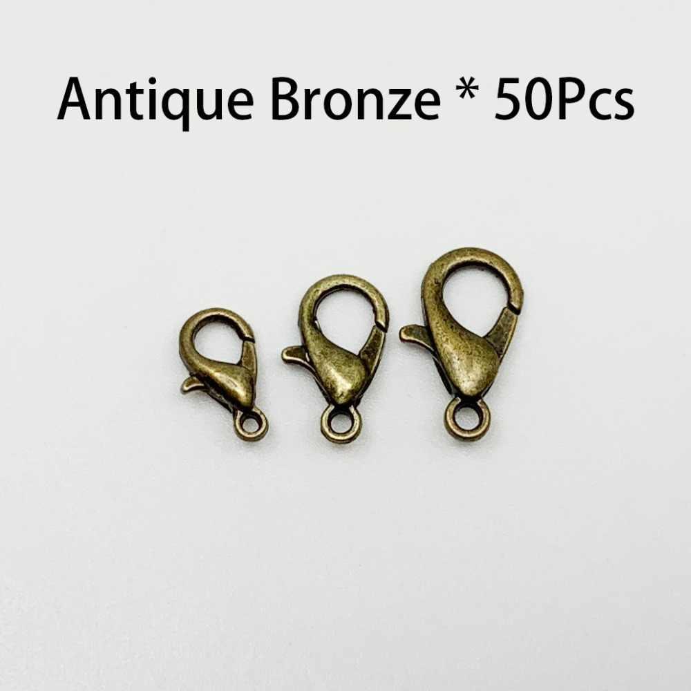 50 ชิ้น/ล็อต Gold Silver Alloy Lobster Clasp Hooks สำหรับ DIY ผลการค้นหาเครื่องประดับสร้อยคอสร้อยข้อมืออุปกรณ์เสริม