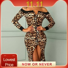 leopard dress Womens Sexy Off Shoulder Leopard Printed Split Hem front Zipper Party Wrap sexy Dresses robe vestido(China)