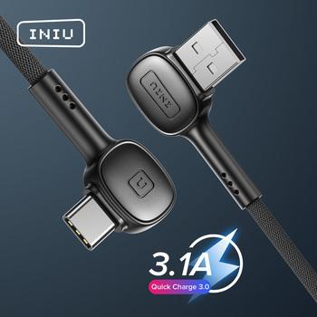 INIU 90 stopni USB typ C kabel szybkie ładowanie telefonu komórkowego ładowarka USB-C przewód danych dla Samsung S21 S20 Xiaomi mi 11 Redmi Huawei tanie i dobre opinie Rohs TYPE-C CN (pochodzenie) USB A 90 Degree USB Type C Cable 0 5m (1 6ft) 1m (3 3ft) 2m(6ft) 3 1A Max Up to 480Mbps