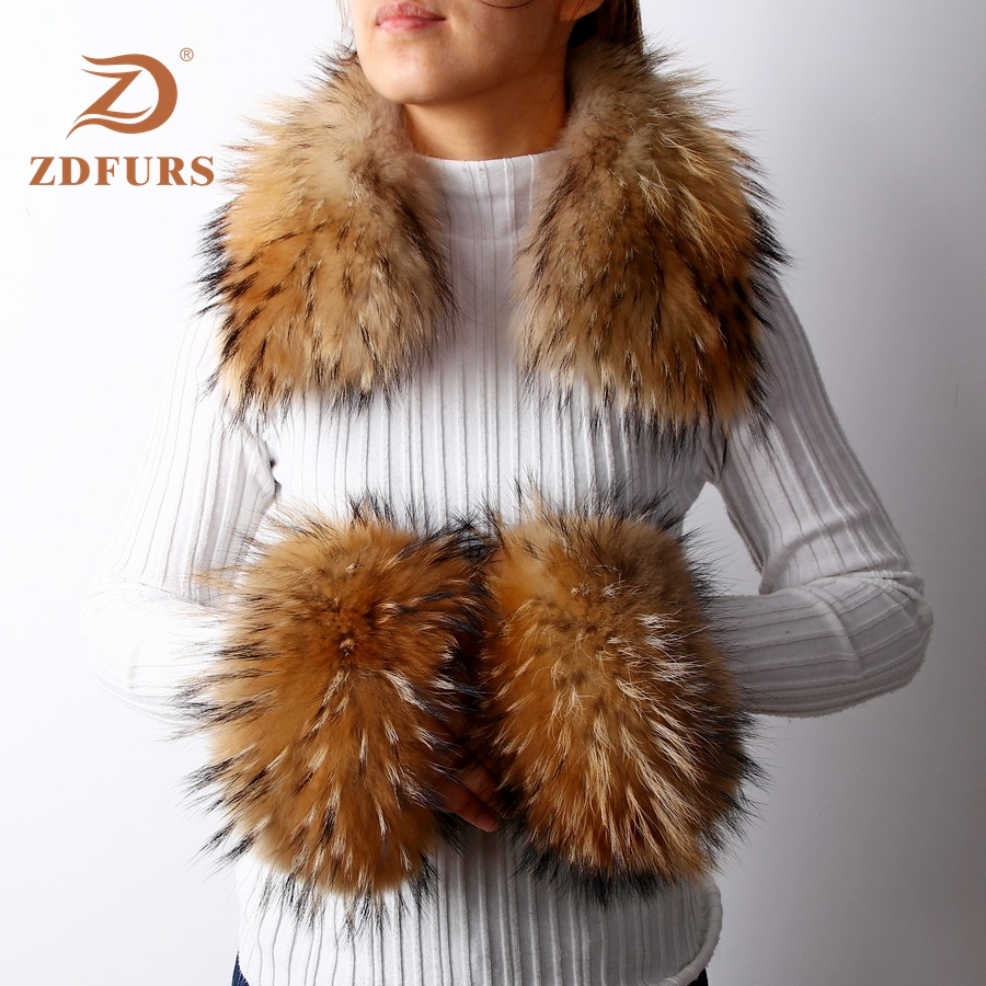 ZDFURS*Women's Real Fox Fur / Raccoon Fur Collar Cuffs Winter Thick Warm Genuine Fur Fashion Square Collar Cuffs One Sets