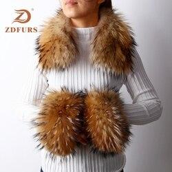 ZDFURS * frauen Echt Fox Pelz/Waschbären Pelz Kragen Manschetten Winter Dicke Warme Echte Pelz Fashion Square kragen manschetten one sets