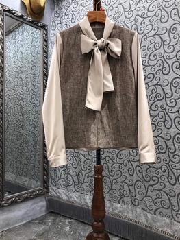 2021 nowych kobiet modna szyta sznurowana wiązana szalik ozdobiona fałszywa dwuczęściowa bluzka z długimi rękawami 728 tanie i dobre opinie WNSFCOLY Łuk CN (pochodzenie) REGULAR Linen POLIESTER Patchwork Na co dzień Pełne KOSZULE CODZIENNE Zestaw jednoczęściowy