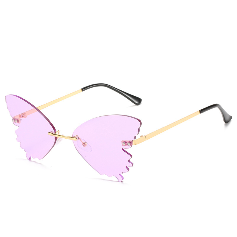 2020 new personality butterfly shape sunglasses female colorful frameless sunglasses metal frame