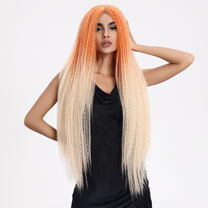 "Image 2 - 魔法の髪合成レースフロントウィッグ黒人女性のための 38 ""インチ耐熱ウィッグ編組髪緑ピンクレースかつら人工毛"