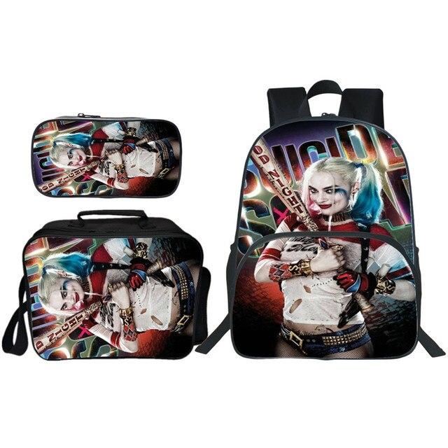 Nowości 3 sztuk/zestaw drukowanie samobójstwo Squad kobiety plecak szkolny Harley Quinn plecak dziecięcy nastolatki dziewczyny Bookbag dzieci