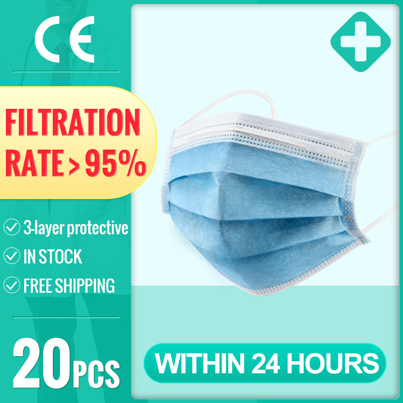 50pcs Disposable Masks 3-layer Non-woven Anti-Dust Meltblown Cloth Masks Mouth Filter Earloops Masks