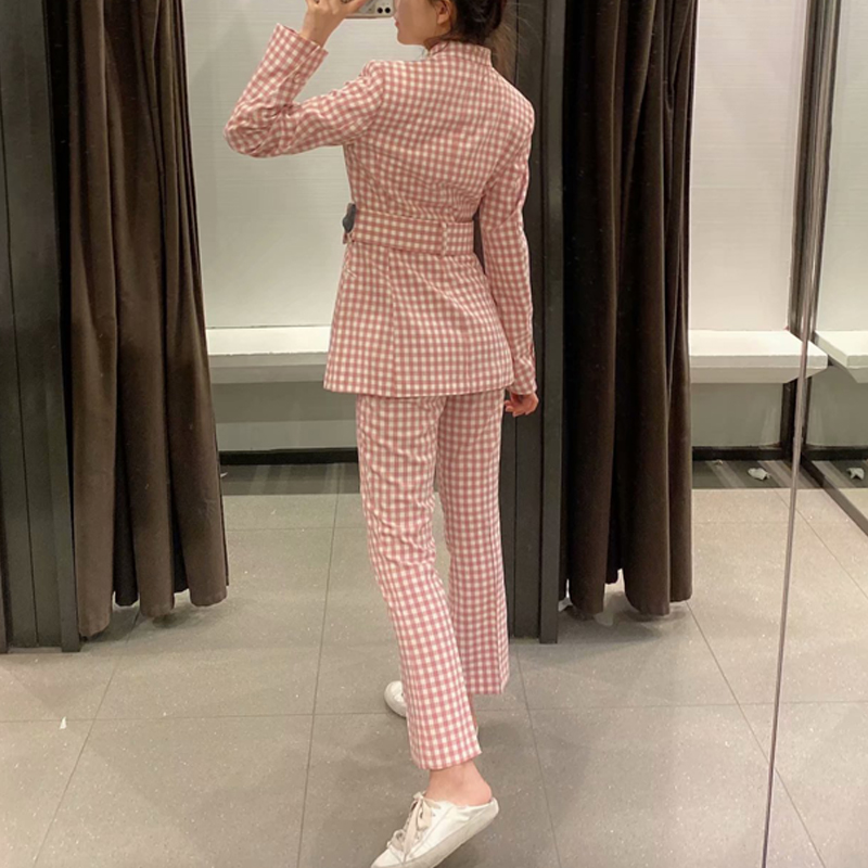 2020 Spring Pink Vintage Plaid Pants Suit Women Sexy V-Neck Belt Blazer Jacket Coat+Flares Trousers Female Office Two Piece Set